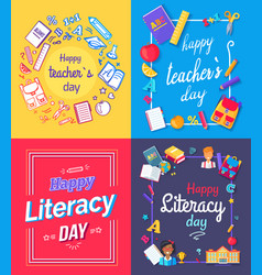 Happy teachers day posters vector