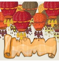 Hot air balloons postcard vector image