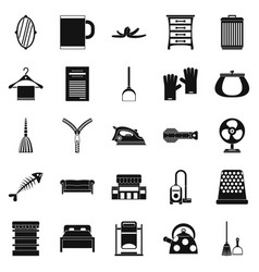 House work icons set simple style vector