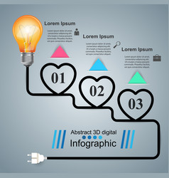Infographic heart bulb light icon vector
