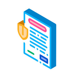 Insurance agreement paper list isometric icon vector