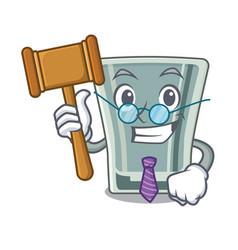 Judge shot glass on wooden cartoon table vector