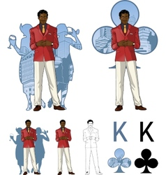 King of clubs afroamerican male party host with vector image