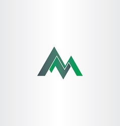 Letter m green mountain and letter z or n vector