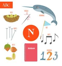 Letter N Cartoon alphabet for children Nest needle vector