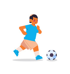 Little arab boy playing football healthy lifestyle vector