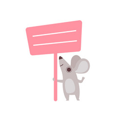 Little mouse holding pink empty banner cute vector