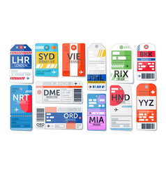 Luggage tag set isolated airport baggage ticket vector