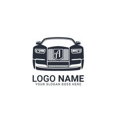 luxury car logo design editable logo design vector image