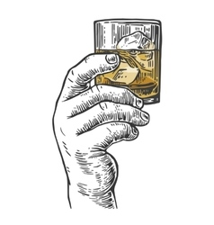 Male hand holding a shot of alcohol drink Hand vector