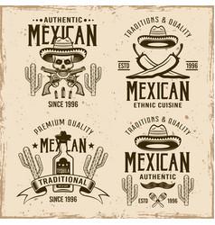 Mexican style set four emblems labels vector