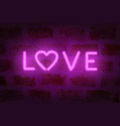 neon love word on the wall vector image