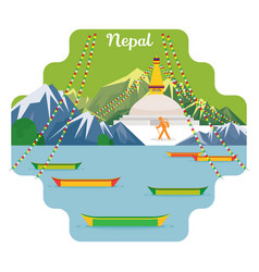 Nepal travel and attraction landmarks vector