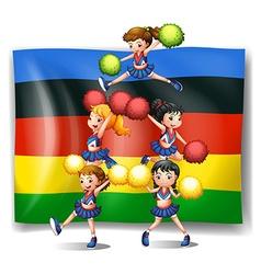 Olympics flag and cheerleaders vector