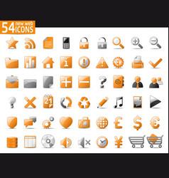 Orange web icons vector