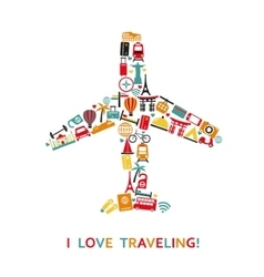 Plane from travel icons vector