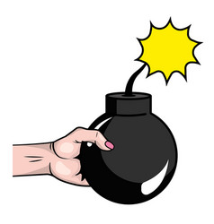 pop art hand with bomb cartoon vector image
