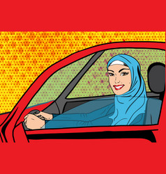 Pop art muslim woman in car vector