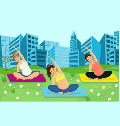 Pregnant women working out vector