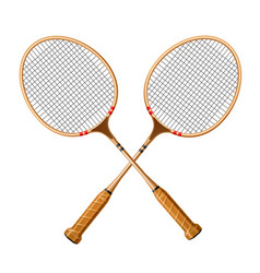Realistic crossed racquet 3d icon for sport vector