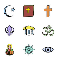 religion culture icons set cartoon style vector image