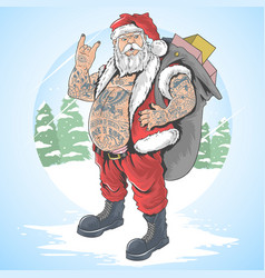 santa claus christmas tattoo vector image