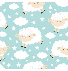 seamless pattern jumping sheep cloud star in the vector image