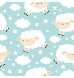 seamless pattern jumping sheep cloud star vector image