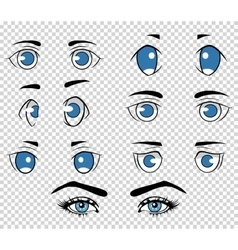 Set different human and anime eyes cartoon vector