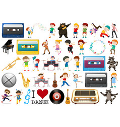 set music objects and character vector image
