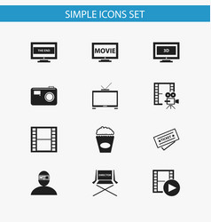 Set of 12 editable cinema icons includes symbols vector