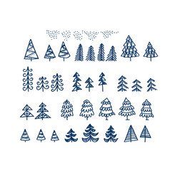 set of christmas tree sketches on a white vector image