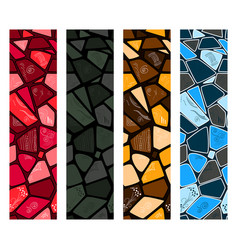 set of modern mosaic seamless pattern of vector image