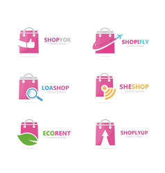 set of shop logo combination deal and retail vector image