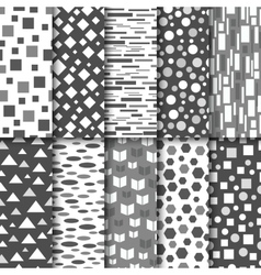 set seamless black and white patterns vector image