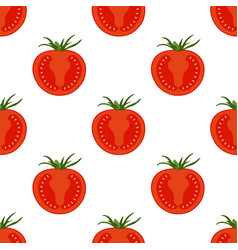 slice tomatoes pattern isolated on white vector image