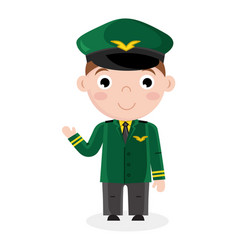 smiling little boy in airplane pilot uniform vector image