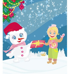 Snowman giving gifts vector
