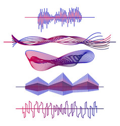 sound waves set audio equalizer waves pulse vector image