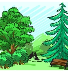 Spruce and green tree in the background Park an vector image