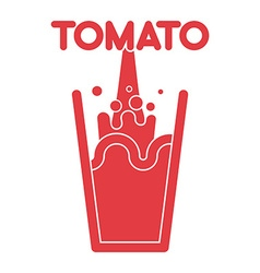 Tomato juice glass Spray fresh tomato juice vector image