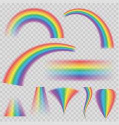 transparent rainbows in different shapes rainbow vector image