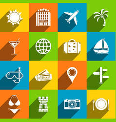 Travel icons with long shadow vector