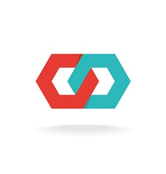 Two hexagonal chain links logo Tech connection vector