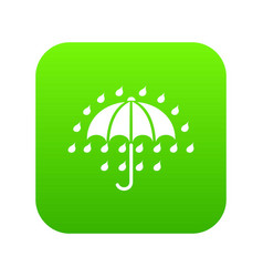 umbrella icon green vector image