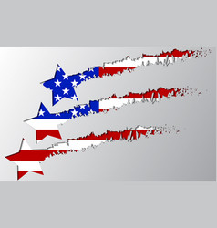 usa flag under star break vector image vector image