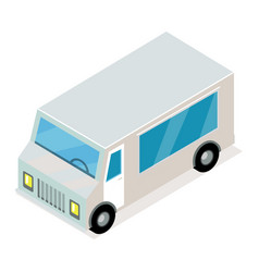 vintage grey van isometric projection icon vector image