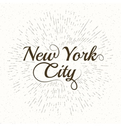 Vintage Hand lettered textured New York vector image