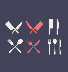 vintage kitchen set set meat cutting knive vector image