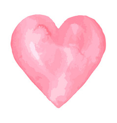 Watercolor brush heart pink aquarelle abstract vector